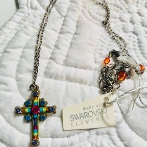 Swarovski Multi-Color Crystals Cross Necklace